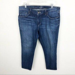 Loft Relaxed Skinny Crop Jeans Medium Wash 29